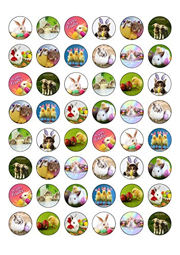 48 Cute Animal Easter Themed Round Edible Wafer Paper Cake Toppers Decorations