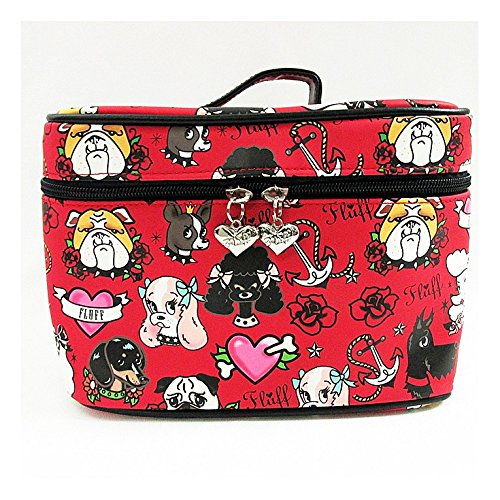 [Fluff Puppy Dog Cosmetic Train Case Makeup Bag - Retro Tattoo and Vintage 1950s Inspired Artwork by Miss Fluff (Claudette Barjoud) (Tattoo] (50s Make Up)