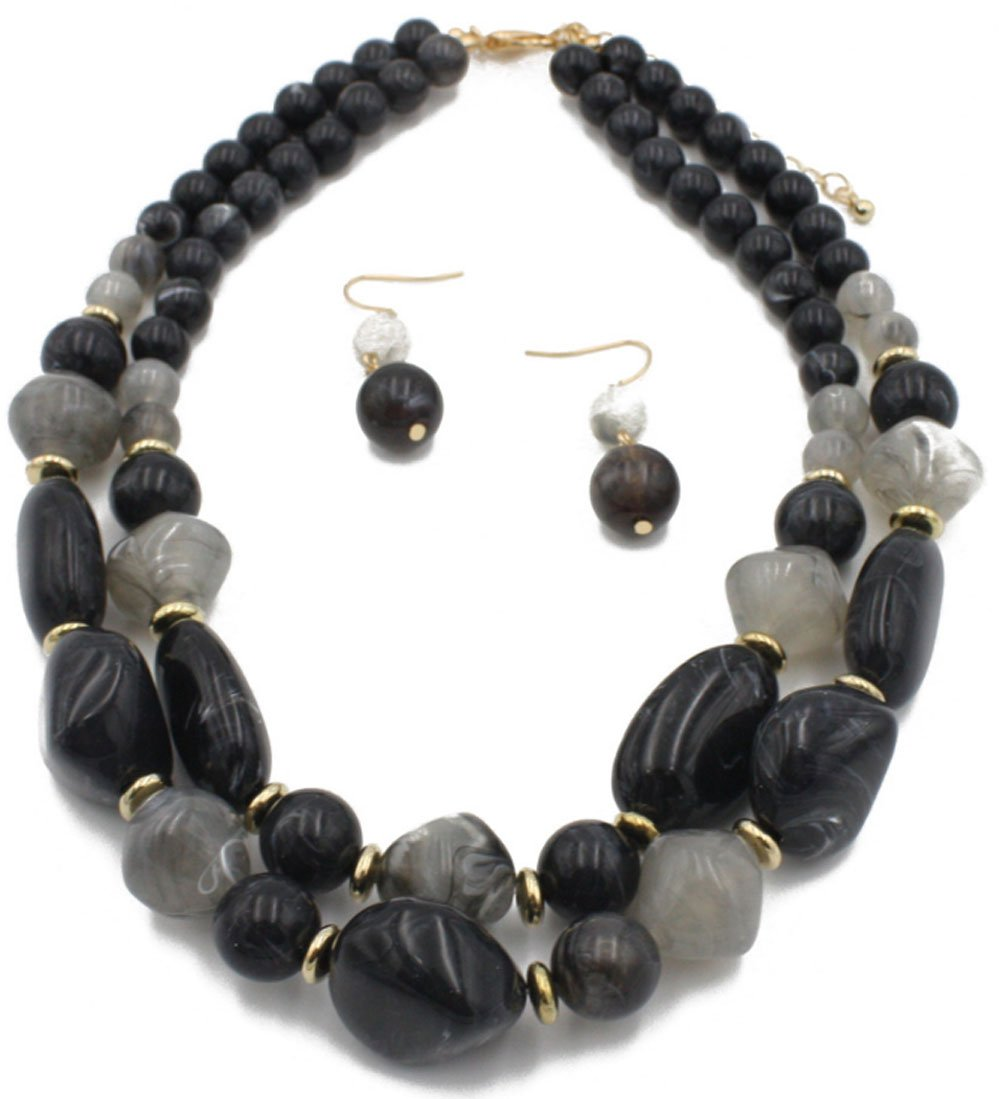 Shineland 2 Layer Jelly Colored Acrylic Handmade Statement Strand Chunky Beaded Fashion Necklaces And Earring (Style # 2 Black)
