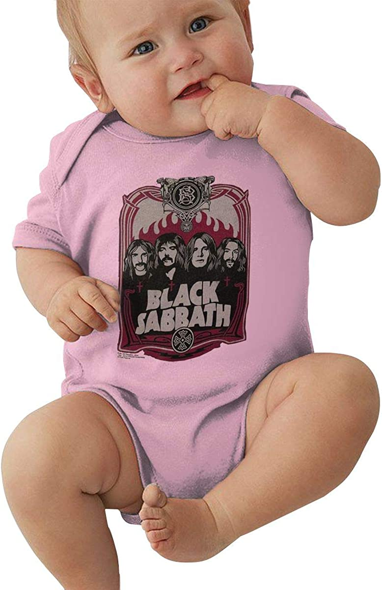 AP.Room 1-24 Months Baby Short Sleeve Creeper Jumpsuit Black Sabbath New Casual Style Pink