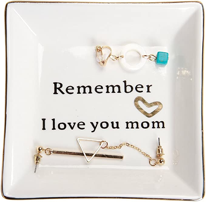 HOME SMILE Ceramic Ring Dish Decorative Trinket Plate -Remember I Love You Mom best gifts for Christian moms