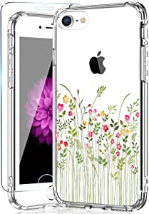 KINFUTON iPhone SE Case 2020,iPhone 8 Case,iPhone 7 Case with Screen Protector,Girls Women Flowers/Floral Cover Hard PC Back and Soft TPU Bumper Slim Clear Phone Case for iPhone 8 iPhone 7/iPhone SE