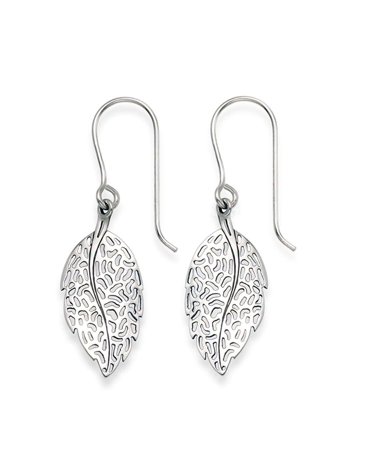 Genuine 925 Silver  Sterling Silver Leaf Earrings  Size: 11 X 20mm 6041  Gift Boxed: Amazon: Jewellery