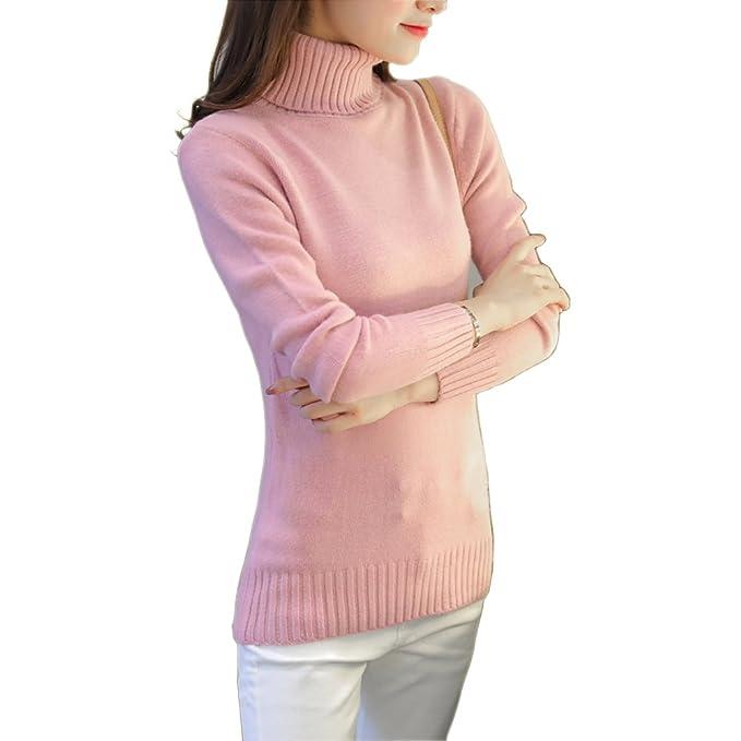 4f6bddb9e4cf Maglioni collo alto Donna Invernali Tumblr Elegante Dolcevita Maglieria  Maglione Pullover (beige