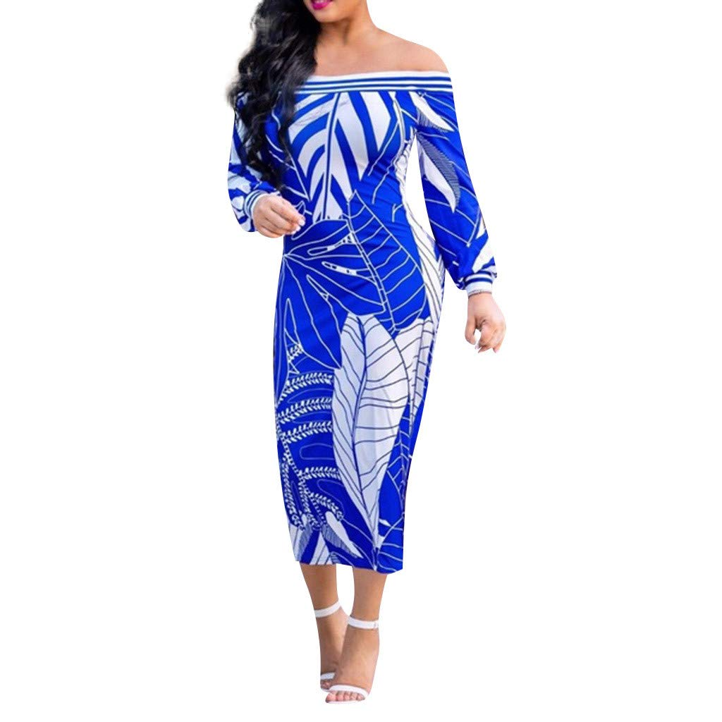 Womens Wrap Dress Sexy Off Shoulder Printed Sexy Strapless Long Sleeve Traditional Dress Plus Size (L3, Blue)