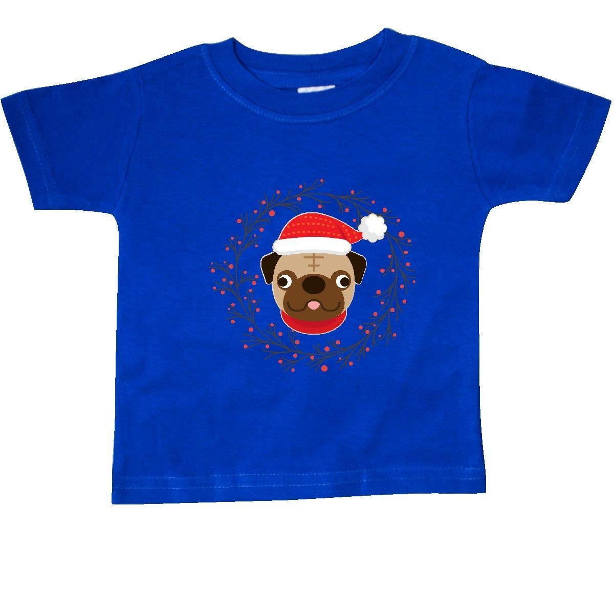 inktastic Pug Dog Christmas Holiday Wreath Baby T-Shirt