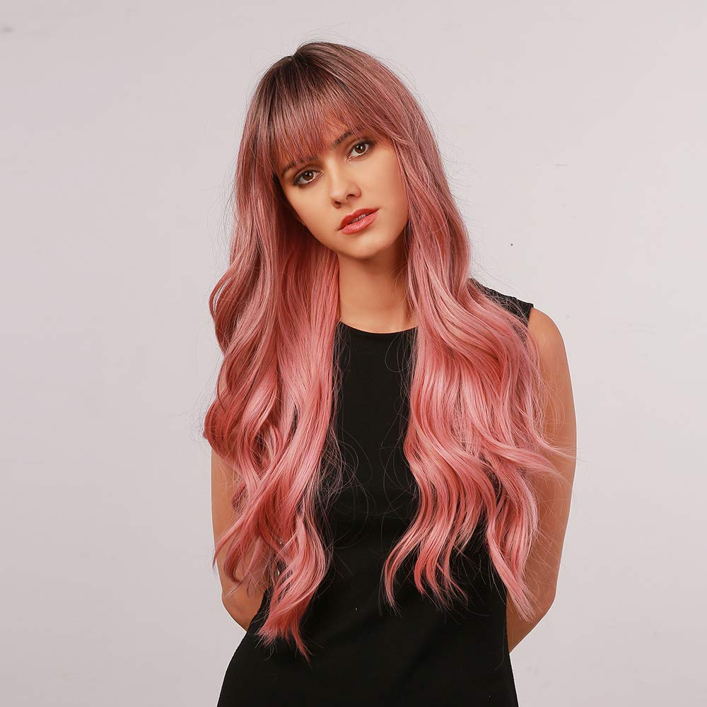 Bogsea Pink Wig With Bangs Long Wavy Wig Ombre Pink Wigs For Women Heat Resistant Synthetic Wig Women S Cosplay Wigs For Daily Party Wear Ombre Pink Wig 24 Inch Beauty Amazon Com