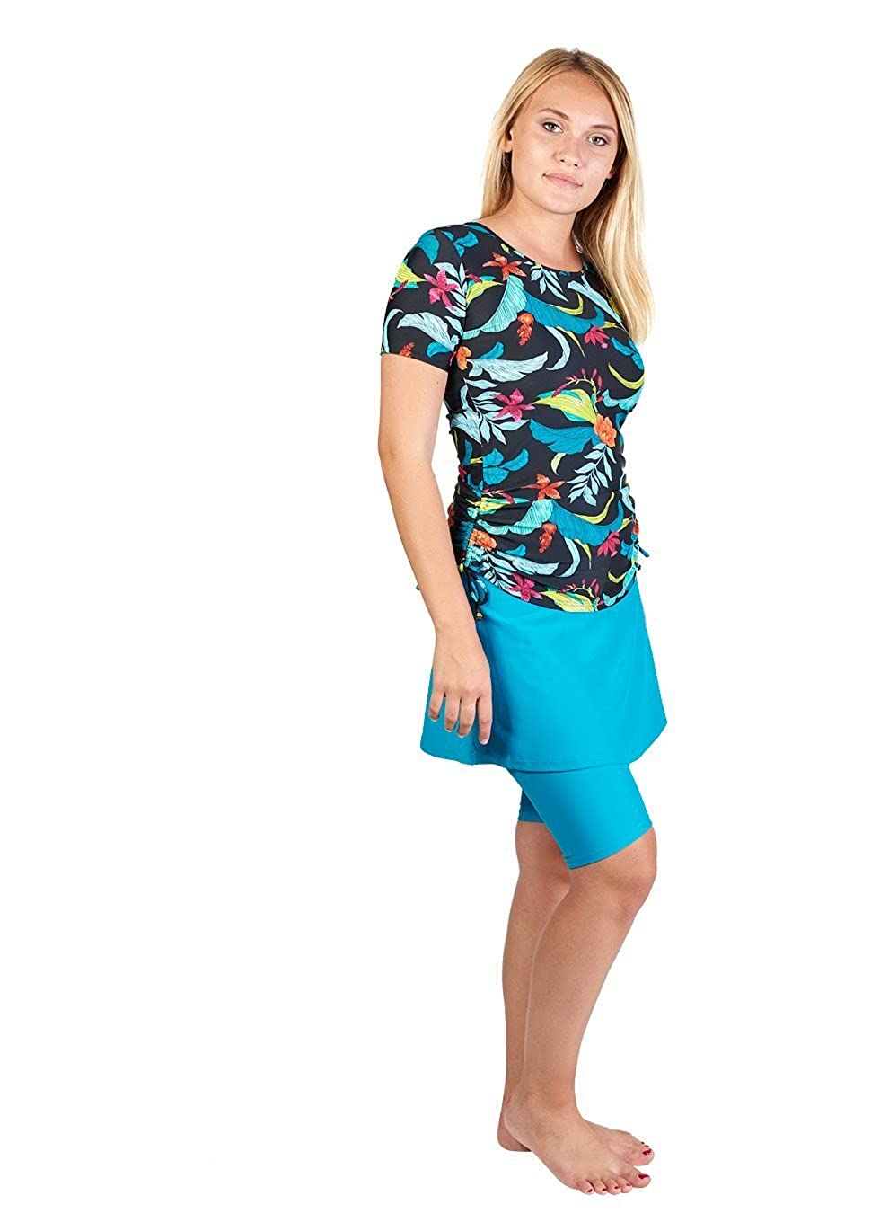 138102114b6b0 STYLISH AND MODEST - bright, patterned modest swimwear you will be excited  to wear! ADJUSTABLE FIT - the shirt features drawstrings on either side ...
