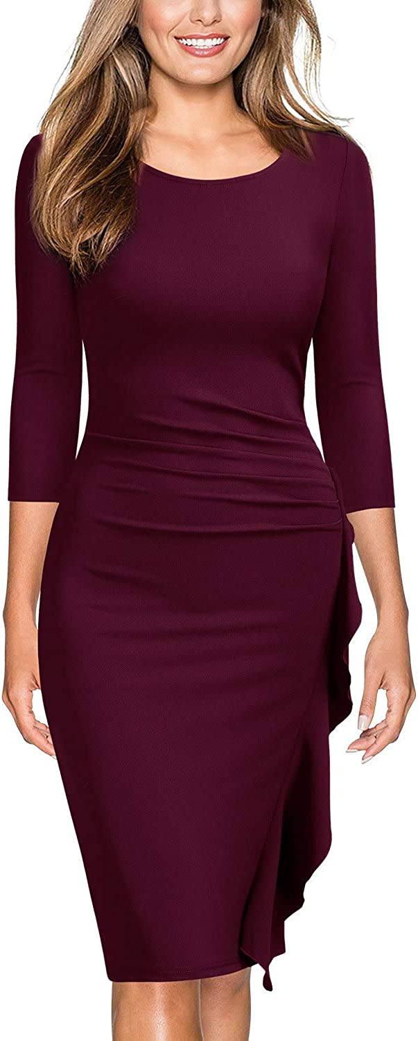 Miusol Women's Business Retro Ruffles 2/3 Sleeve Cocktail Pencil Dress