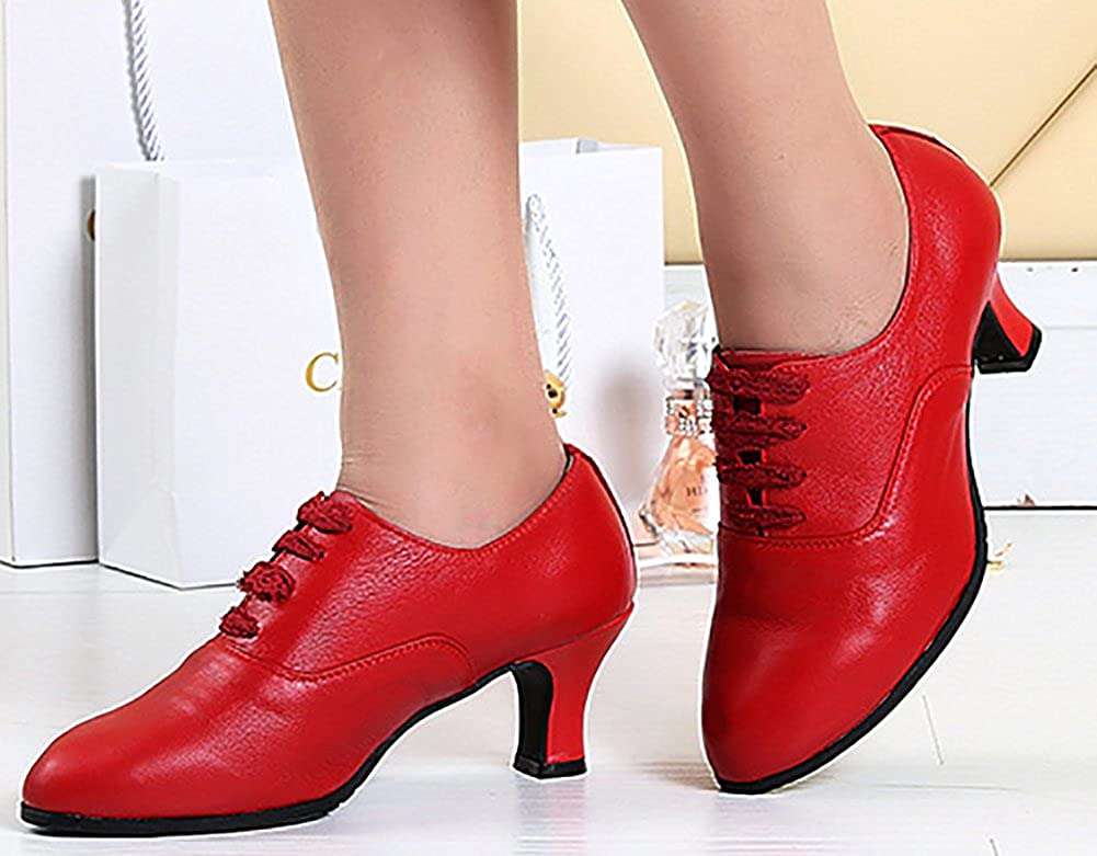 WYMNAME Womens Latin Dance Shoes,Middle Heels Soft Bottom Lace up Dancing Shoes Ballroom Dance Shoes