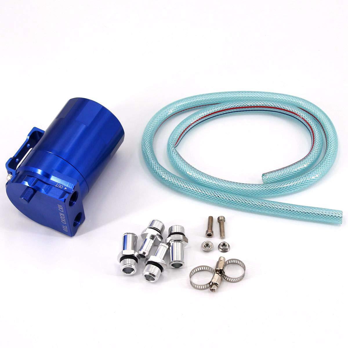 SUNDELY® Blue 9mm & 15mm Baffled Alloy Aluminum Oil Catch Can Reservoir Tank Universal 483720