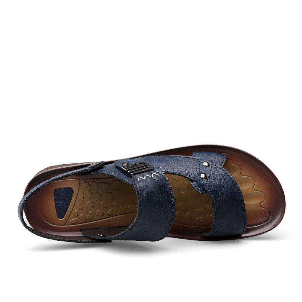PU-Leder-Strand-Pantoffel-beiläufige Sandelholze Alleinige der Männer Rutschfeste Weiche Alleinige Sandelholze Schuhe justierbar Backless,für Männer Navy 65d435