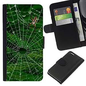 BearCase / Cuero de la tarjeta la carpeta del tirón Smartphone Slots Protección Holder /// Apple Iphone 5C /// Web Naturaleza Araña