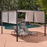 Great Deal Furniture Wendy Outdoor Steel Framed 10′ by 10′ Gazebo, Grey Review