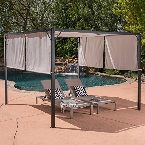 Cheap  Great Deal Furniture Dione Outdoor Steel Framed 10' by 10' Gazebo, Beige