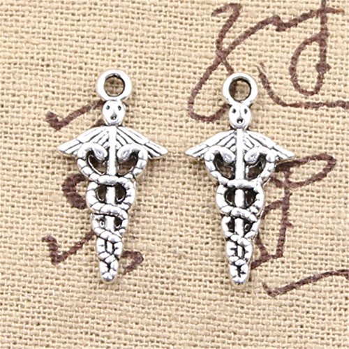 Symbol Charm Caduceus - 50pcs Charms Caduceus Medical Symbol md Antique Silver Charms Pendants for Making Bracelet Necklace Jewelry Findings Jewelry Making Accessory 23x11mm
