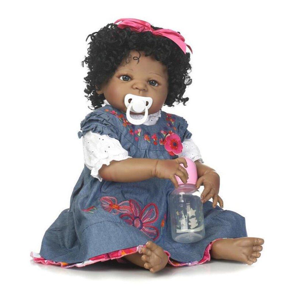 SHTWAD Lebensechte Reborn Baby-Puppe Black Skin Simulation Voll Silikon Vivid Boy Girl Spielzeug Blaues Kleid 22inch 56cm Ourdream
