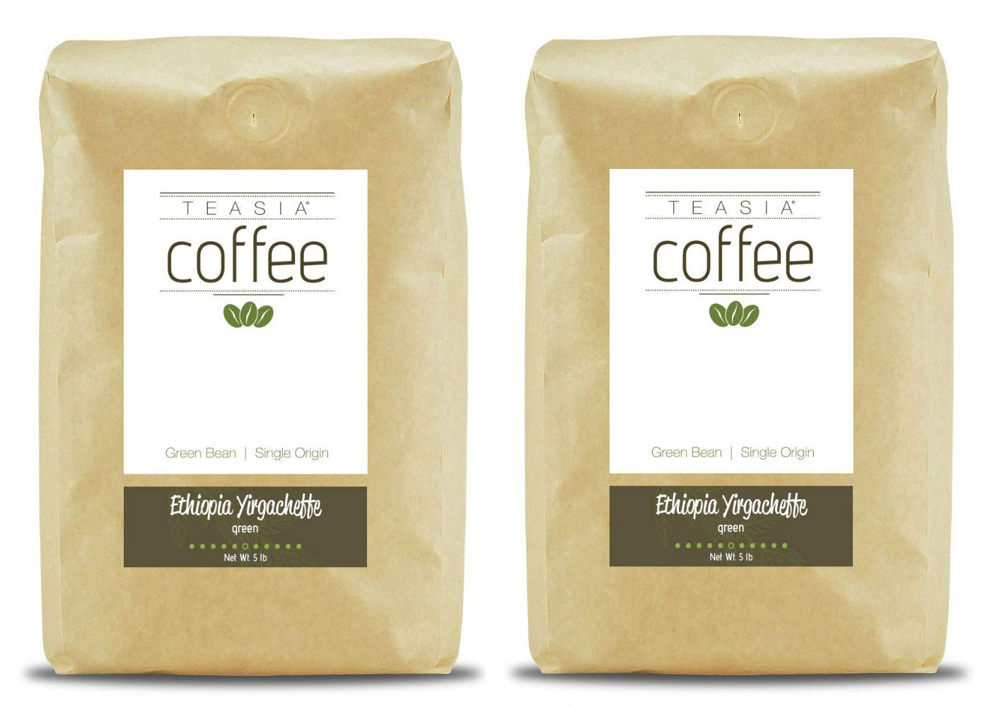 Teasia Coffee, Ethiopia Yirgacheffe, Single Origin Fair Trade, Green Unroasted Whole Coffee Beans, 5-Pound Bag (2-Pack)