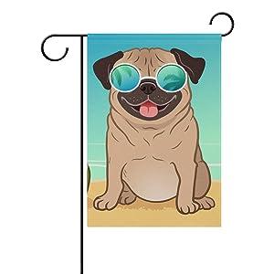 ALAZA Pug Dog Summer Beach Decorative Double Sided Garden Flag 12 x 18 inch Garden Banner Yard Flag