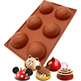 6 Holes Silicone Mold For Chocolate, Cake, Jelly, Pudding, Handmade Soap, Round Shape Half Sphere Mold Non Stick, BPA Free Cu