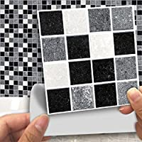 Fymural Tile Sticker for Kitchen & Bathroom Waterproof Anti-Mold Backsplash 4x4 Inch Black and White Mosaic Tile Sticker Decals for Walls Stairs Deacoration 18PCS
