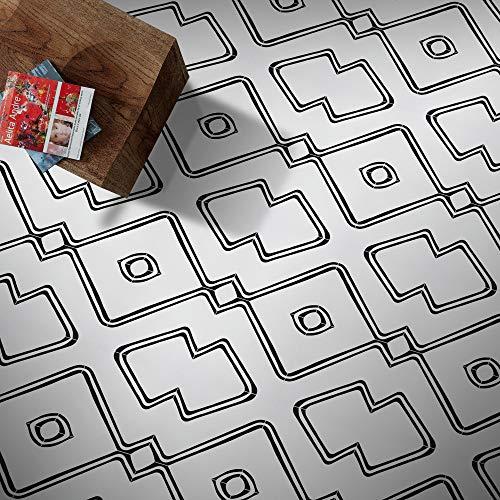Moroccan Mosaic & Tile House CTP68-01 Chawen Handmade Cement Tile, 8''x8'', Black/White