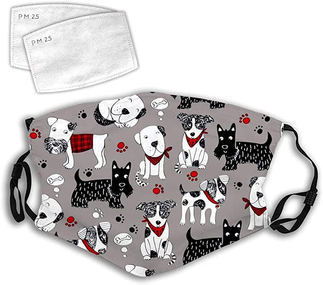 Amazon Com Cloth Face Mask Washable Grey Different Dogs Cartoon