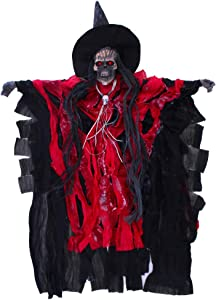 Halloween Ghost Hanging Decorations Scary Skeleton Haunted House Prop Decor with Led eyes and Voice Activated Screaming Window Wall Decor and Indoor/Outdoor House Pub Yard Party Decorations Supplies