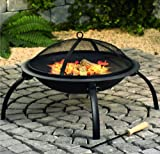 Fire Pit Black Log Heater Burner BBQ Garden Patio Outdoor Camping Firepit Chimney