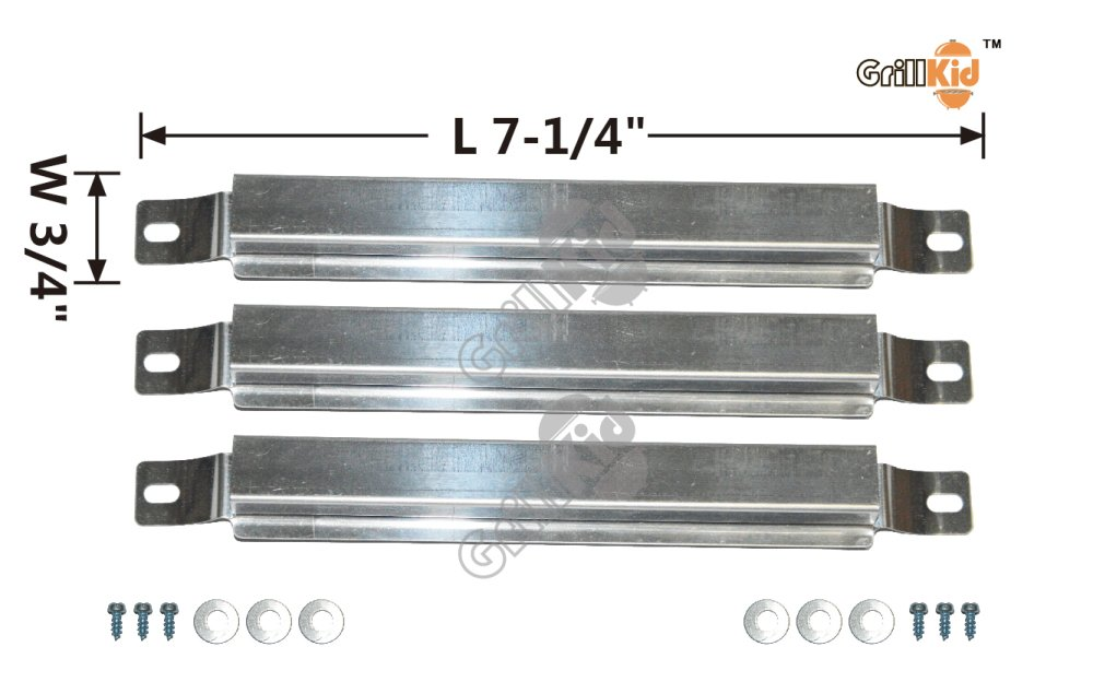 Grillkid BS933 Stainless Steel Cross-Over Tube Burner for Grill Models by Centro, Charbroil, Kenmore, MasterChef, Cuisinart and Kmart, Compatible with Part #05593,80009949,80006583,80010680, Set of 3