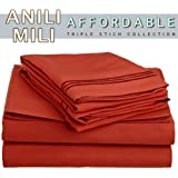 Anili Mili's Triple Stitch Embroidery Affordable 4 PC Bed Sheet Set - Queen Size, Orange Rust