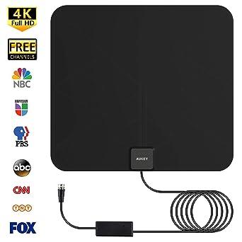 AUKEY antena de TV, amplificada, antena de televisión digital para interiores con amplificador de señal en línea y cable coaxial de 9.8 pies para HDTV (transparente): Amazon.es: Industria, empresas y ciencia