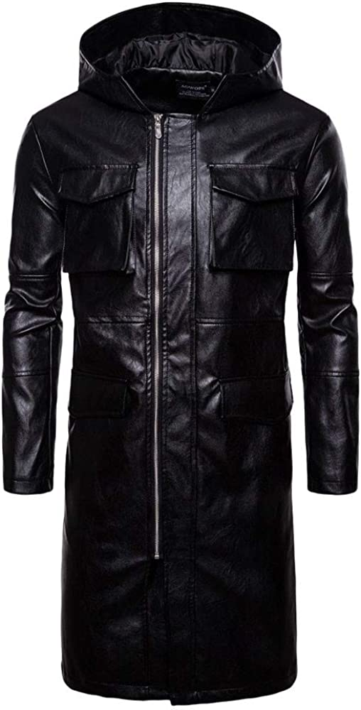 Autumn Winter Casual Long Sleeve Long Section Hooded Leather Jacket Top Men