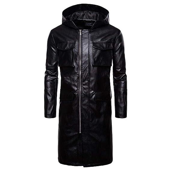 e041be8132c H.eternal Men's Biker Jacket Faux Leather Hooded Long Sleeve Slim ...