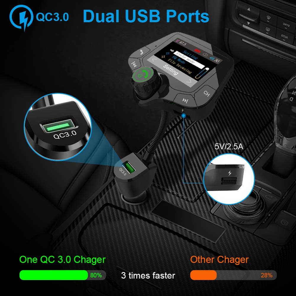 2.0 inch Large Colorful HD Screen Wireless Radio Adapter with Hands-Free 5.0 Bluetooth QC3.0 Smart 2.4A 2 USB Ports AUX Input//Output Bluetooth FM Transmitter for Car TF Card USB Drive Mp3 Player