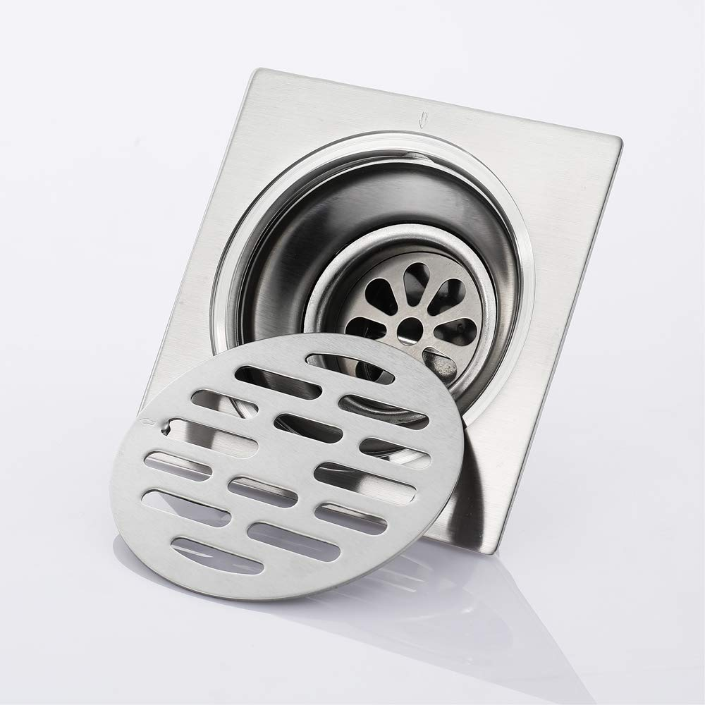 Shower Floor Drain Square Strainer Stainless Steel Modern 4-Inch Floor Drain Insect Proof, Anti-Backwater And Deodorant Floor Drain Anti-Clogging by YJZ (Image #5)