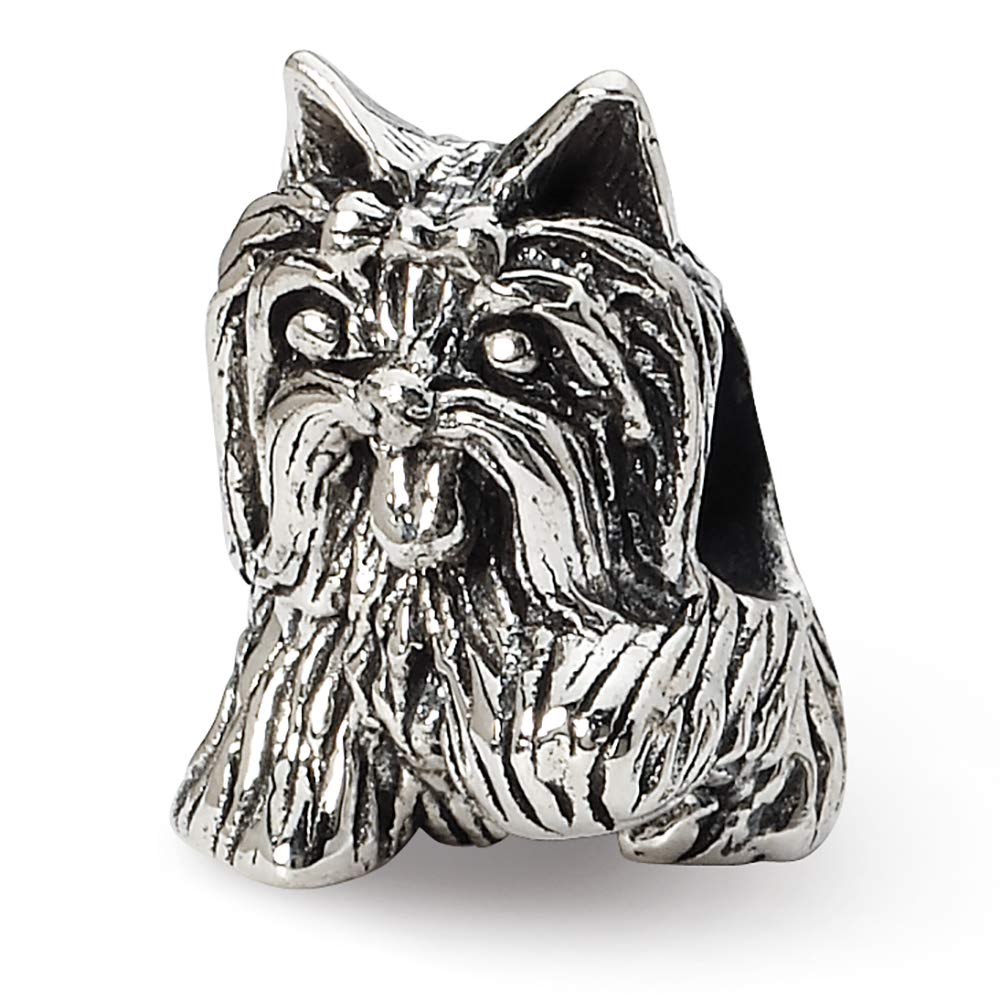 Sterling Silver Reflection Yorkshire Terrier Solid Bead