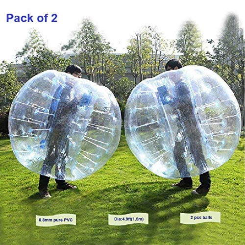 FOSHAN MINGZE Set of 2 Commercial Grade 5FT Inflatable Bumper Ball, PVC Wearable Knocker Zorbing Ball, Giant Bubble Soccer Ball for Outdoor Play Team Game (2)