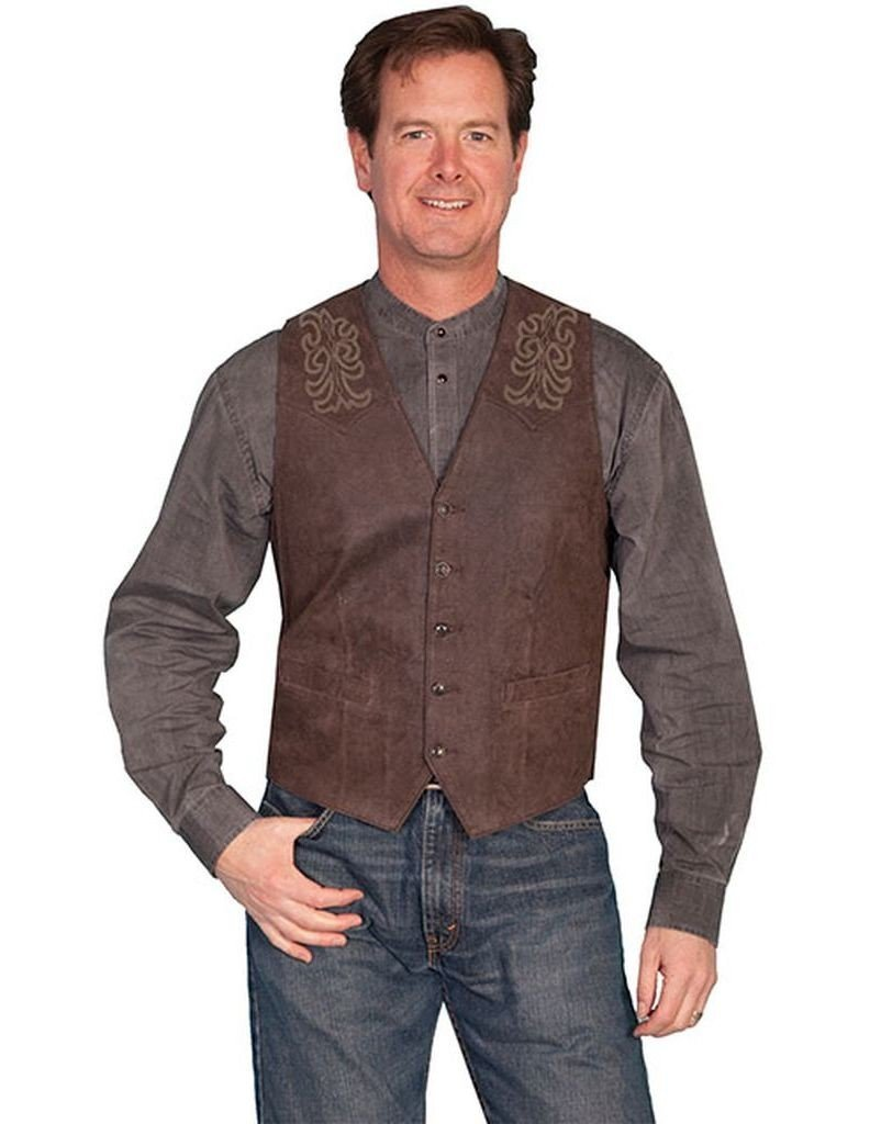Scully Men's Leather Boot-Stitch Vest Brown 40 R