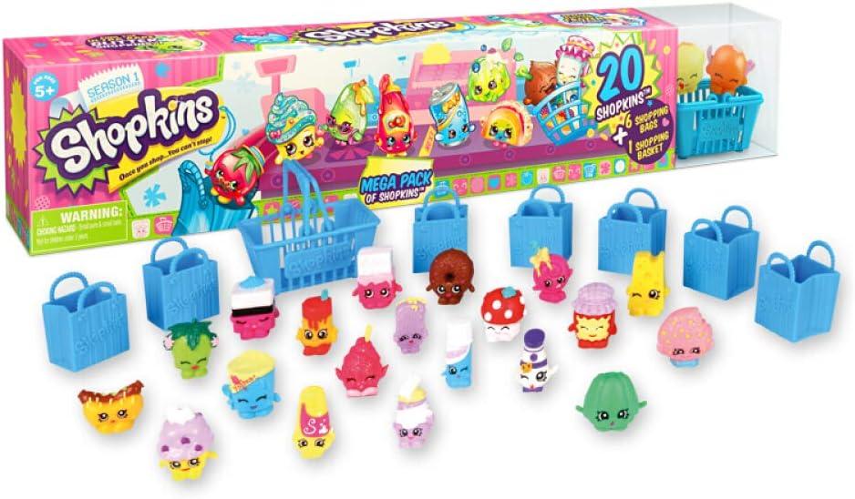 Shopkins Season 1 Mega Pack Bundle of 20 Shopkins, 6 Shopping Bags, 1 Shopping Basket and 1 Collectors Guide