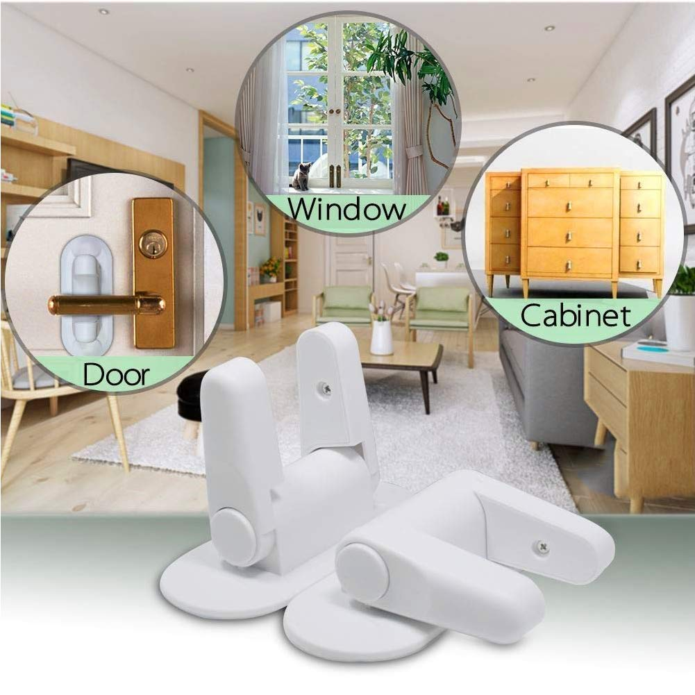Door Lever Lock,2 Pack Child Proof Doors Handles by Mopoin,Child Safety Door Locks 3M Adhesive (White) by Mopoin (Image #3)