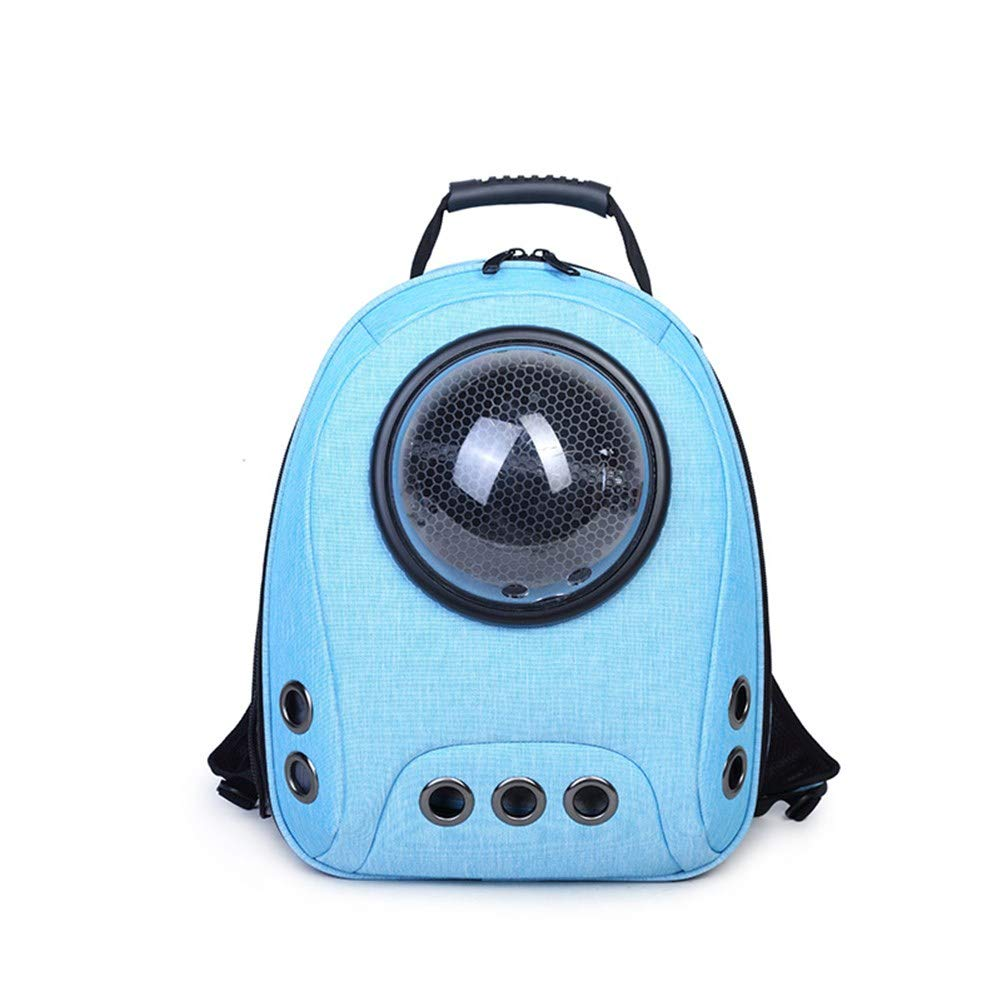 Light bluee Pet Online Pet Out Carrying Bag Nylon Breathable Space Capsule cat Carrier Backpack, 30×15×42cm, Light bluee