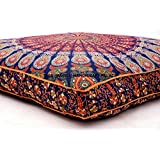 OVERSIZED Indian Floor Cushion Cover Blue Peacock Mandala Tapestry Large Square Pillow Cover Ottoman Pouf Bohemian Meditation Seating Throw By Handicraftspalace
