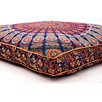 Amazon.com: Indian Floor Cushion Cover Blue Peacock Mandala Tapestry Large Square Floor Pillow ...