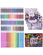 Laconile 120 Oily Art Coloured Pencils Vibrant Colors Pre-Sharpened Coloured Pencils Set with 4Pieces Adult Coloring Books Artist Drawing Sketching Crafting (120 colours)