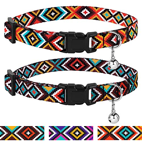 - CollarDirect Aztec Cat Collar Breakaway Pack of 2 PCS Nylon Tribal Pattern Geometric Pet Kitten Collars for Cats (Aztec Sunset + Ethnic Teal)