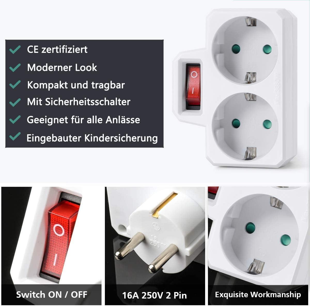 zu Hause oder auf Reisen ORSIFOW Steckdosenadapter Steckdosen doppelstecker f/ür B/üro 2 PCS Doppelsteckdose mit Schalter 16A//250V//Max 3680W Wei/ß