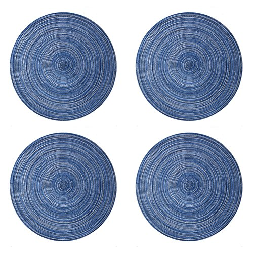 Ytzada Round Woven Vinyl Placemats Set of 4, Heat Insulation Stain Resistant Placemats Anti-skid Washable PVC Round Kitchen Table Mats Chritmas, Dinner Parties, BBQ Everyday Use (Blue)