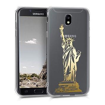 kwmobile Funda para Samsung Galaxy J5 (2017) DUOS - Carcasa Protectora de [TPU] con diseño Statue of Liberty en [Dorado/Transparente]