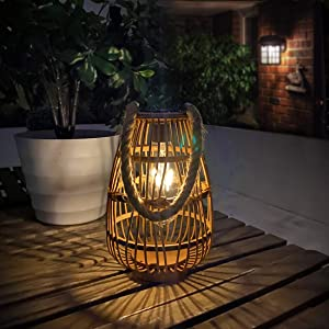 pearlstar Outdoor Solar Lanterns Light Rattan Natural Lantern with Handle for Hanging or Table Lamp for Patio Yard Garden Wedding Home Decoration, Edison Bulb, Auto on/Off